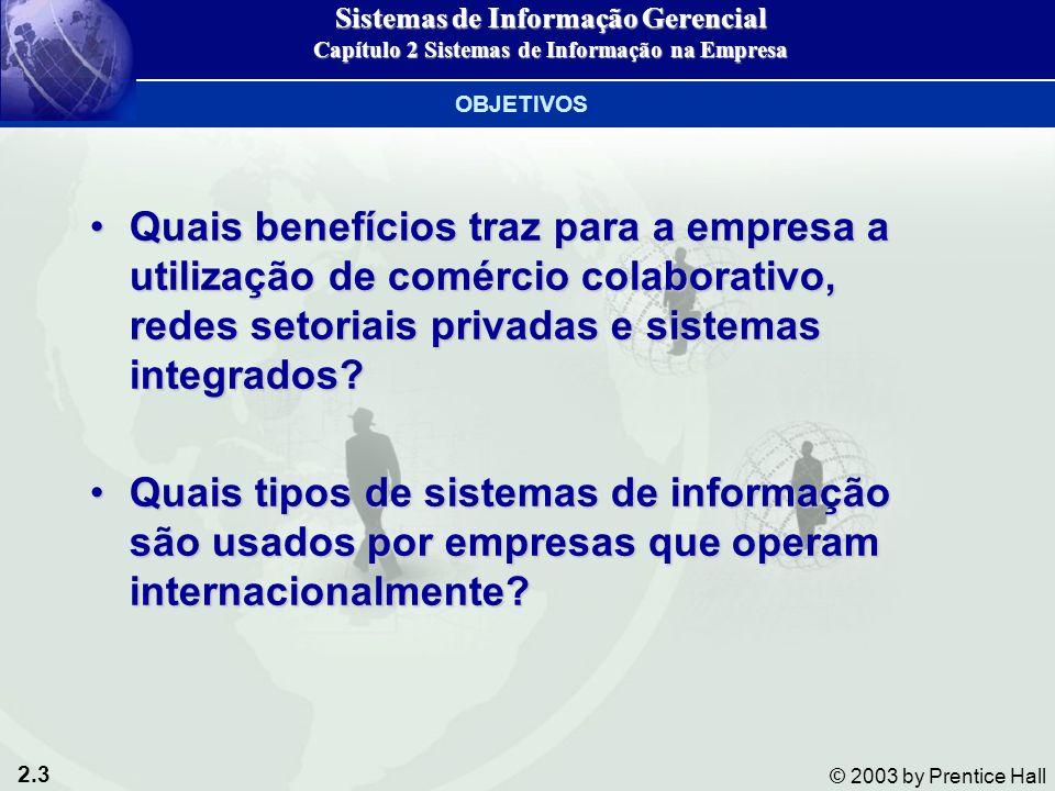 2.3 © 2003 by Prentice Hall Quais benefícios traz para a empresa a utilização de comércio colaborativo, redes setoriais privadas e sistemas integrados?Quais benefícios traz para a empresa a utilização de comércio colaborativo, redes setoriais privadas e sistemas integrados.
