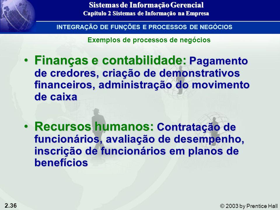 2.36 © 2003 by Prentice Hall Finanças e contabilidade: Pagamento de credores, criação de demonstrativos financeiros, administração do movimento de cai