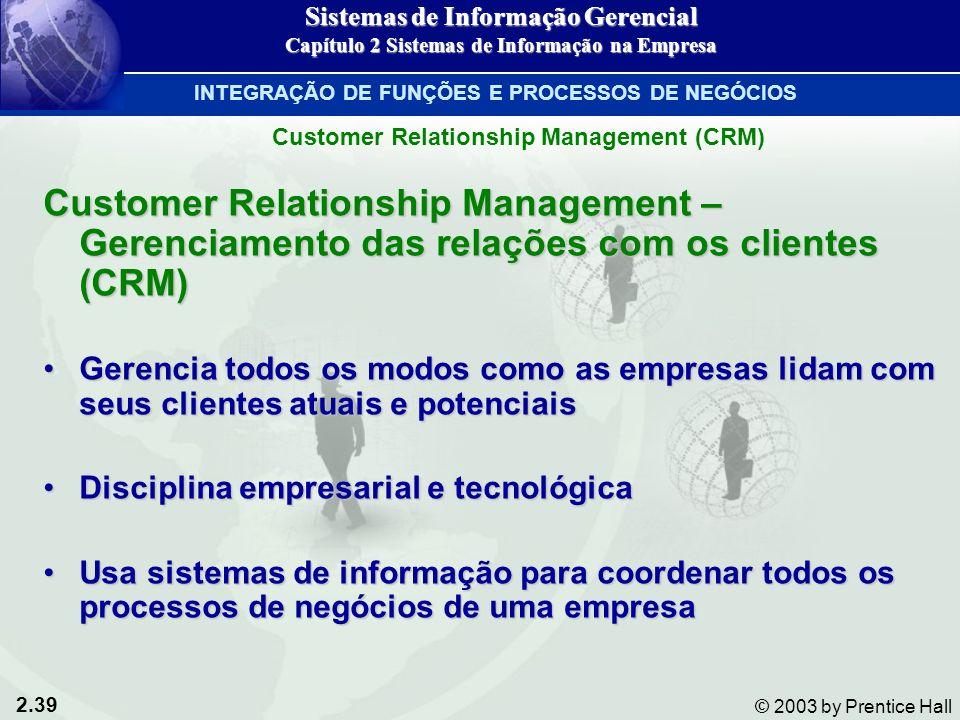 2.39 © 2003 by Prentice Hall Customer Relationship Management – Gerenciamento das relações com os clientes (CRM) Gerencia todos os modos como as empre