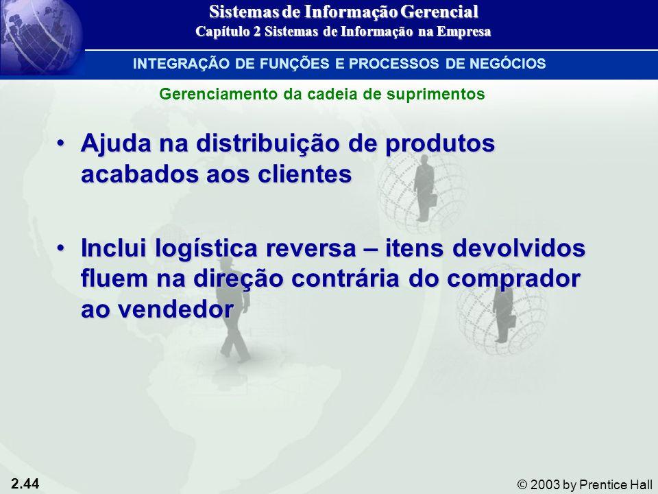 2.44 © 2003 by Prentice Hall Ajuda na distribuição de produtos acabados aos clientesAjuda na distribuição de produtos acabados aos clientes Inclui log