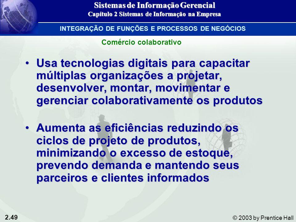 2.49 © 2003 by Prentice Hall Usa tecnologias digitais para capacitar múltiplas organizações a projetar, desenvolver, montar, movimentar e gerenciar co