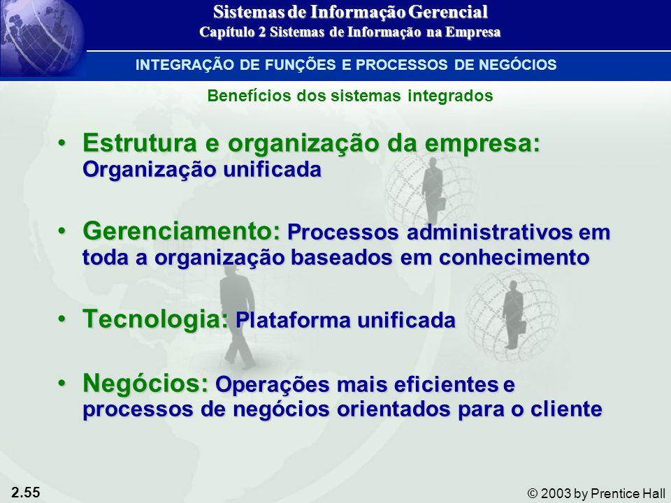 2.55 © 2003 by Prentice Hall Estrutura e organização da empresa: Organização unificadaEstrutura e organização da empresa: Organização unificada Gerenc