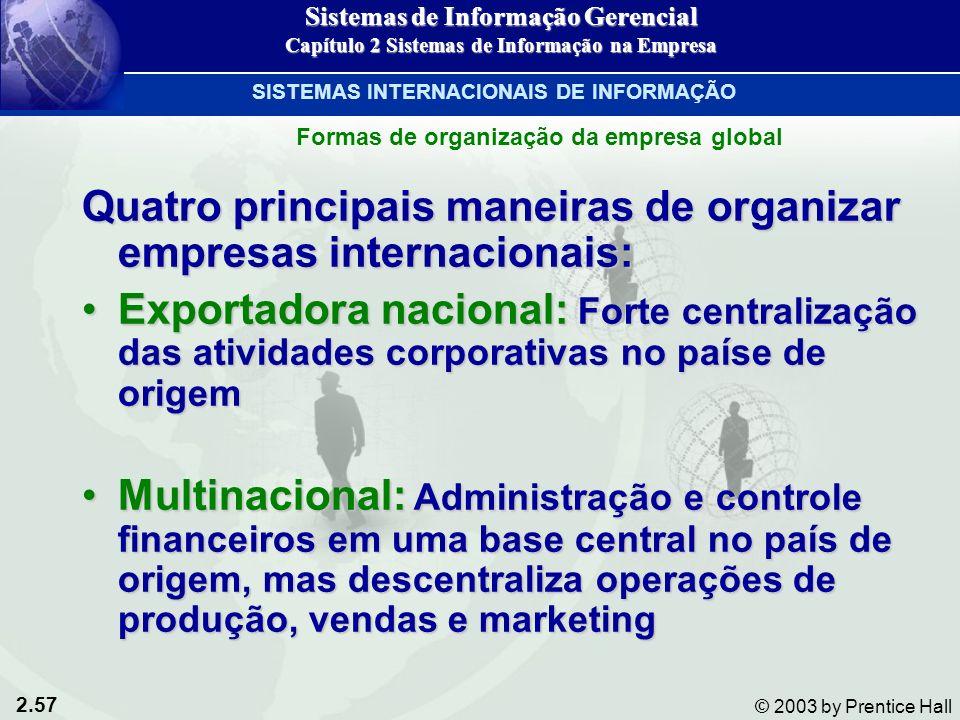 2.57 © 2003 by Prentice Hall Quatro principais maneiras de organizar empresas internacionais: Exportadora nacional: Forte centralização das atividades