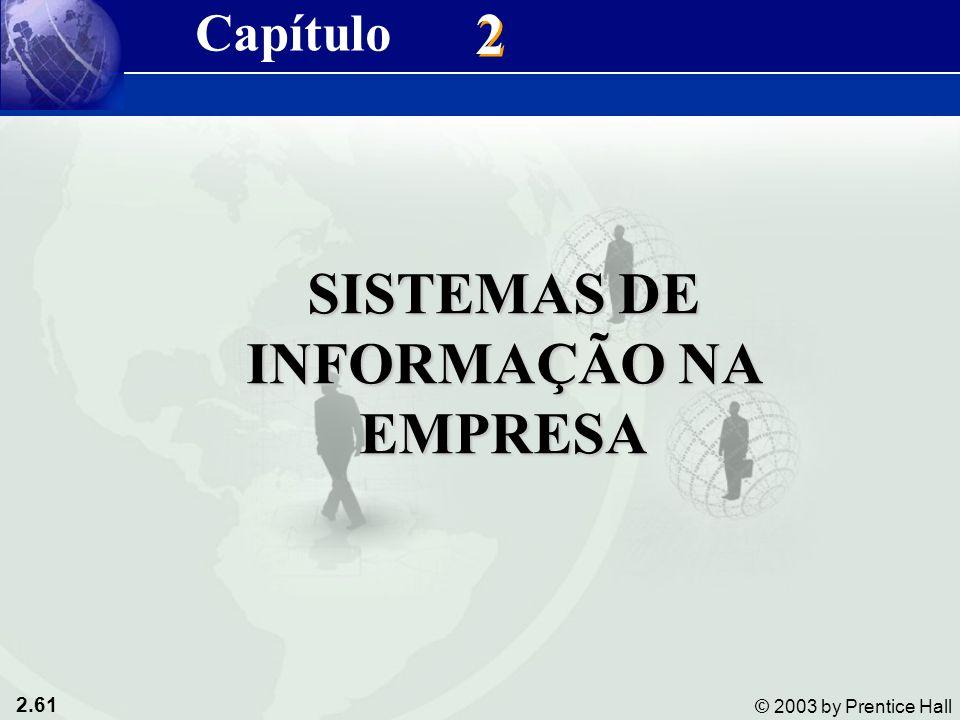 2.61 © 2003 by Prentice Hall 2 2 SISTEMAS DE INFORMAÇÃO NA EMPRESA Capítulo