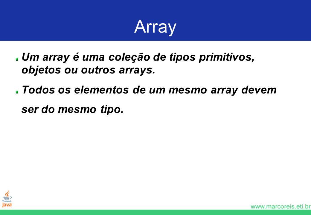 Array Um array é uma coleção de tipos primitivos, objetos ou outros arrays. Todos os elementos de um mesmo array devem ser do mesmo tipo.