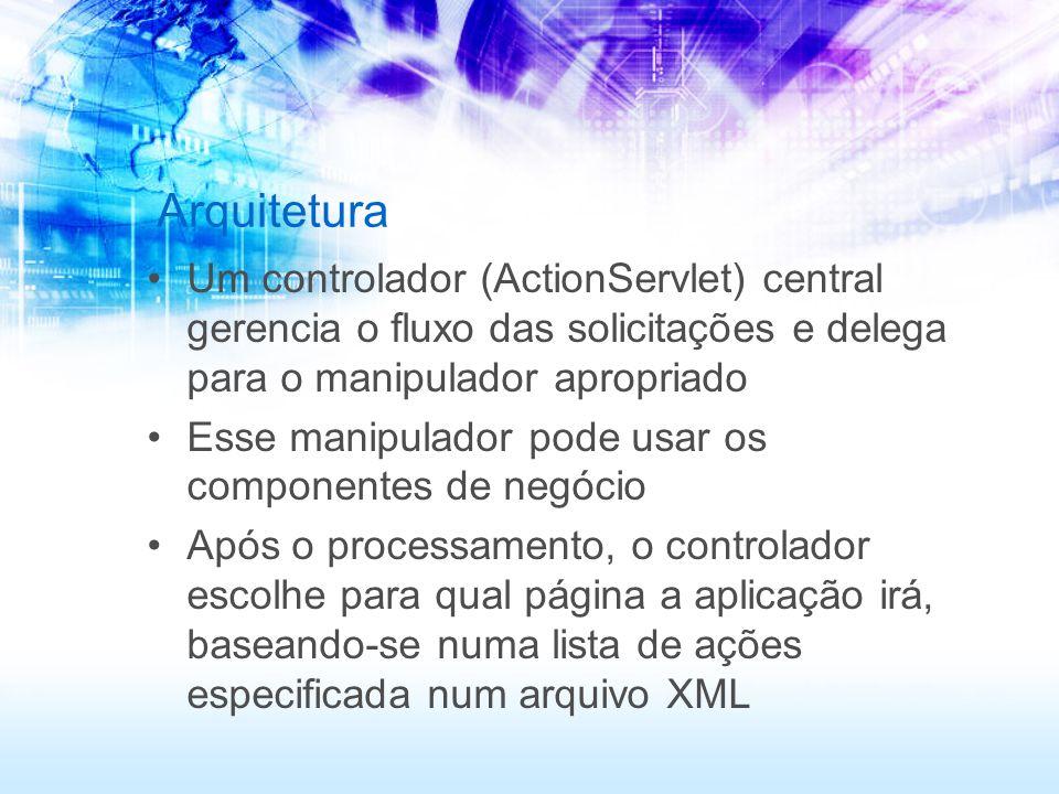 Arquitetura Um controlador (ActionServlet) central gerencia o fluxo das solicitações e delega para o manipulador apropriado Esse manipulador pode usar