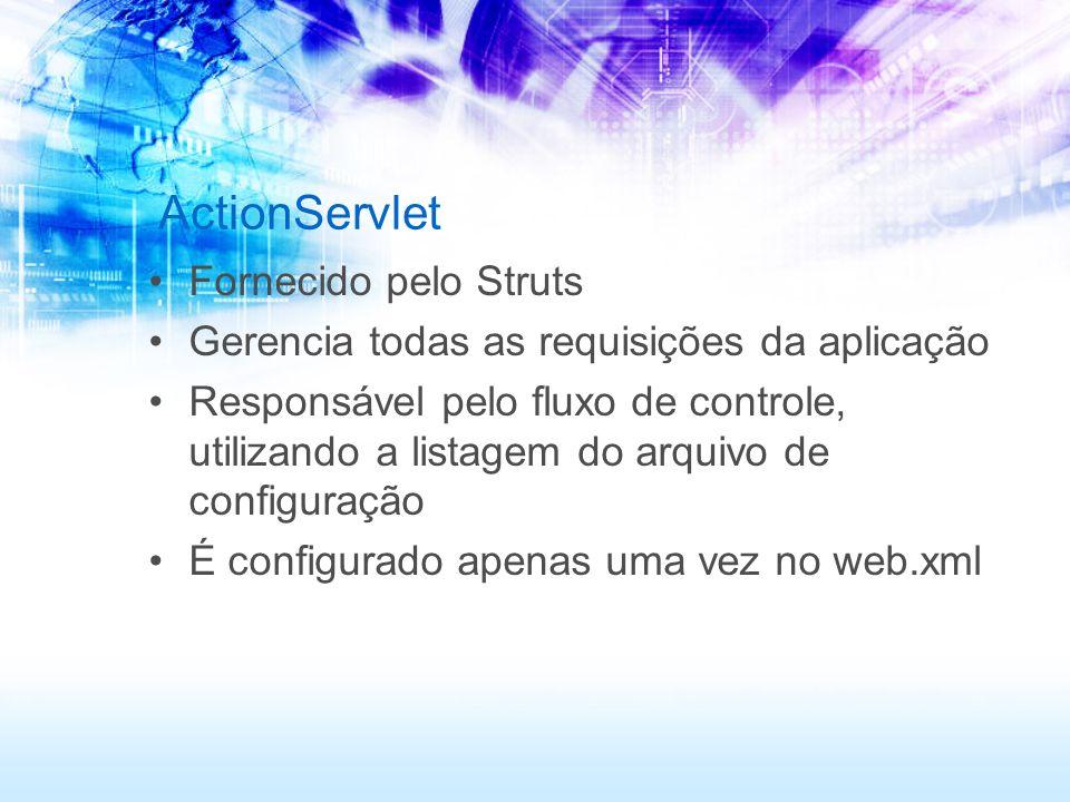 ActionServlet Fornecido pelo Struts Gerencia todas as requisições da aplicação Responsável pelo fluxo de controle, utilizando a listagem do arquivo de
