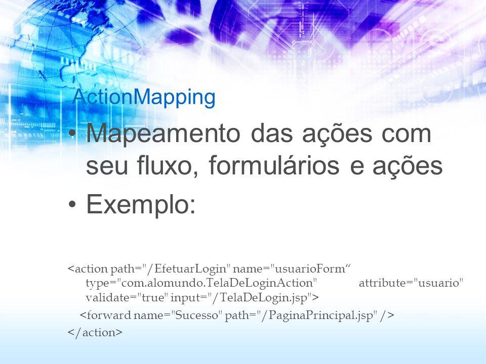 ActionMapping Mapeamento das ações com seu fluxo, formulários e ações Exemplo: