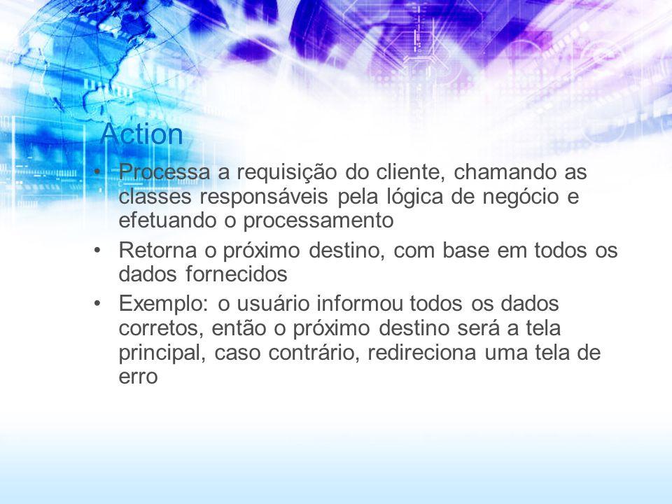 Action Processa a requisição do cliente, chamando as classes responsáveis pela lógica de negócio e efetuando o processamento Retorna o próximo destino