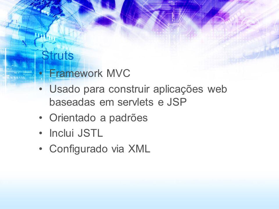 Struts Framework MVC Usado para construir aplicações web baseadas em servlets e JSP Orientado a padrões Inclui JSTL Configurado via XML
