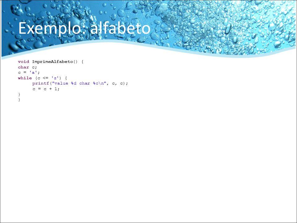 Exemplo: alfabeto void ImprimeAlfabeto() { char c; c = 'a'; while (c <= 'z') { printf(
