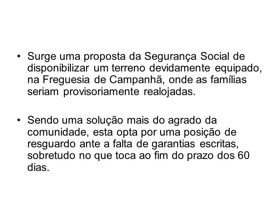 Surge uma proposta da Segurança Social de disponibilizar um terreno devidamente equipado, na Freguesia de Campanhã, onde as famílias seriam provisoria