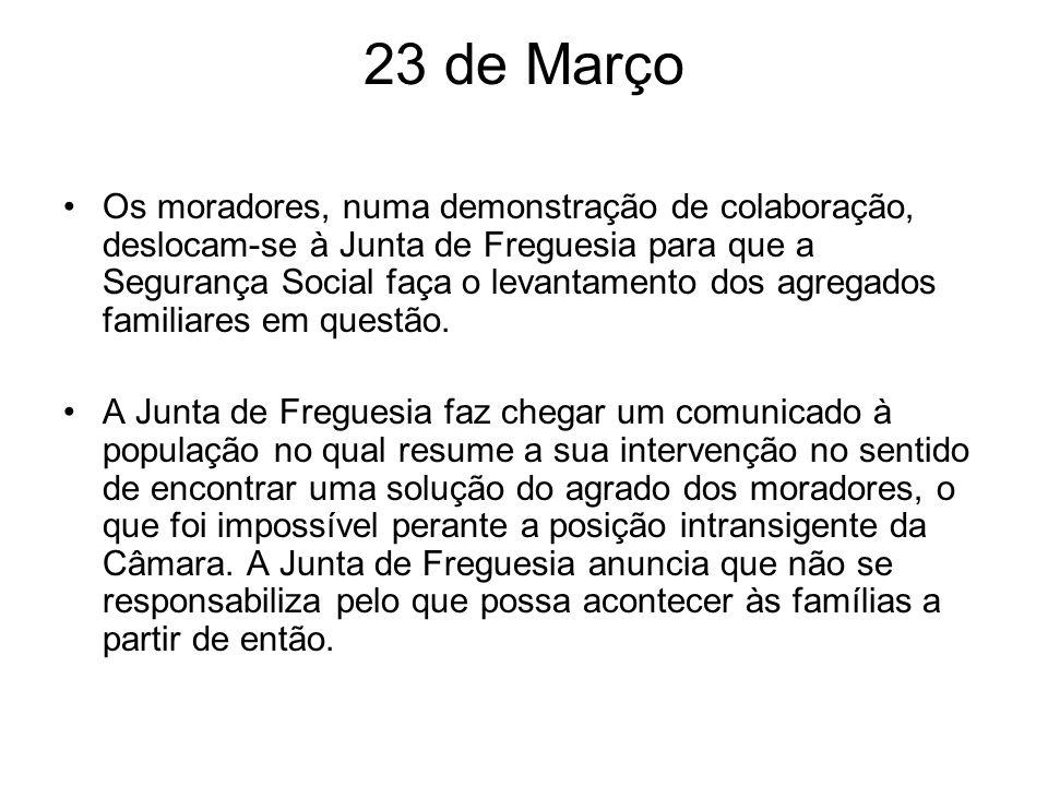 23 de Março Os moradores, numa demonstração de colaboração, deslocam-se à Junta de Freguesia para que a Segurança Social faça o levantamento dos agreg