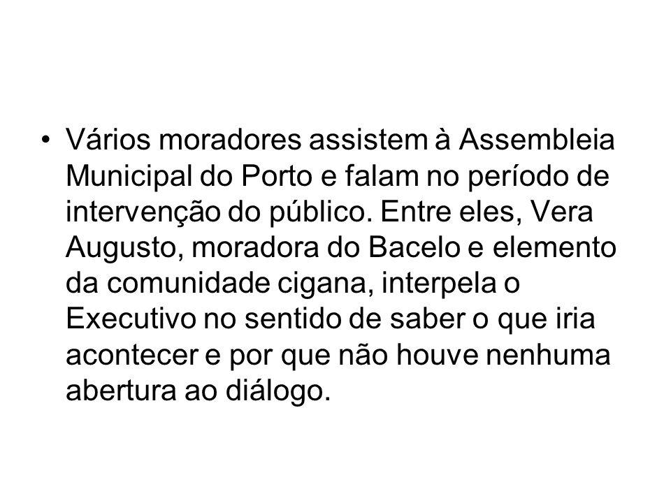 Vários moradores assistem à Assembleia Municipal do Porto e falam no período de intervenção do público. Entre eles, Vera Augusto, moradora do Bacelo e