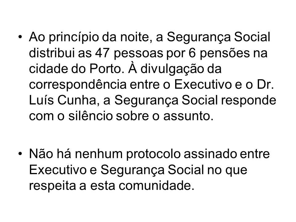 Ao princípio da noite, a Segurança Social distribui as 47 pessoas por 6 pensões na cidade do Porto. À divulgação da correspondência entre o Executivo