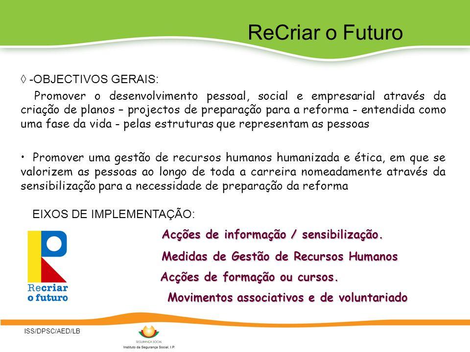 ISS/DPSC/AED/LB -OBJECTIVOS GERAIS: Promover o desenvolvimento pessoal, social e empresarial através da criação de planos – projectos de preparação pa