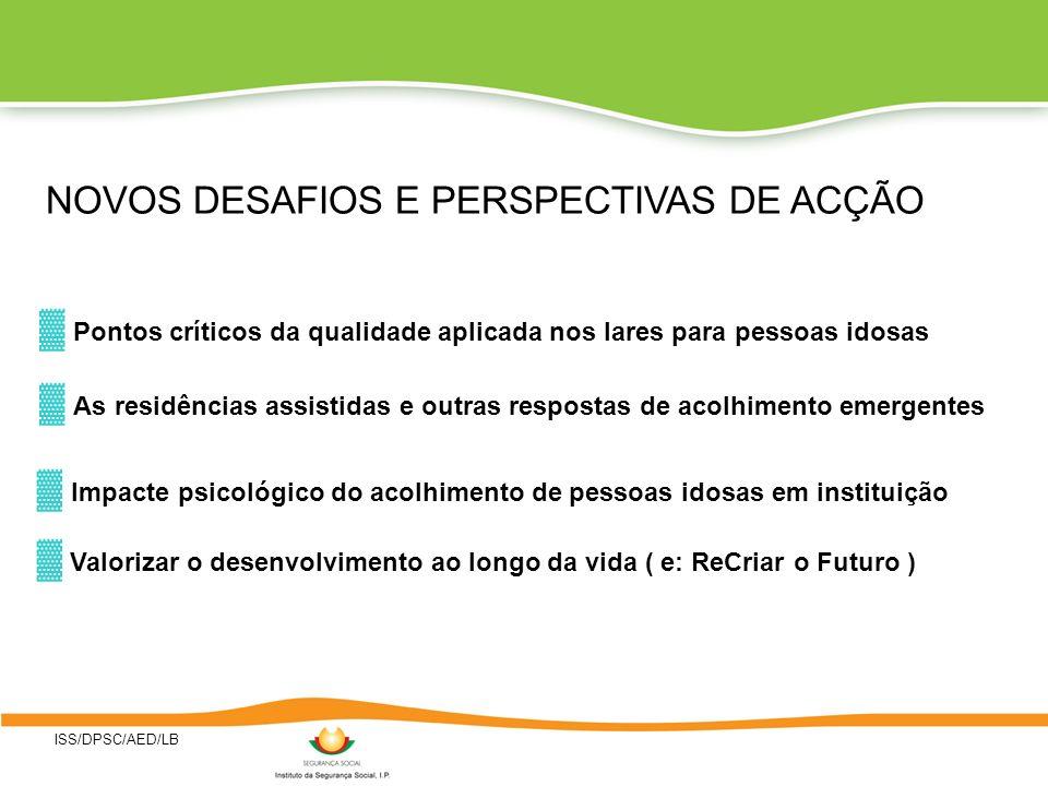 ISS/DPSC/AED/LB Impacte psicológico do acolhimento de pessoas idosas em instituição NOVOS DESAFIOS E PERSPECTIVAS DE ACÇÃO Pontos críticos da qualidad