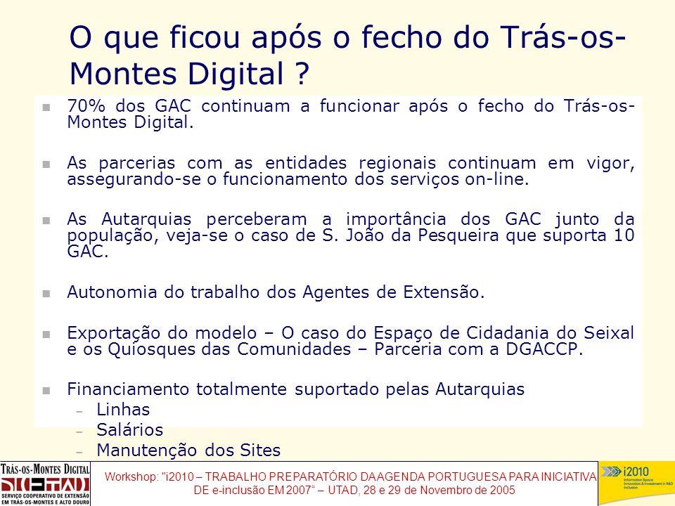 Workshop: i2010 – TRABALHO PREPARATÓRIO DA AGENDA PORTUGUESA PARA INICIATIVAS DE e-inclusão EM 2007 – UTAD, 28 e 29 de Novembro de 2005 O que ficou após o fecho do Trás-os- Montes Digital .