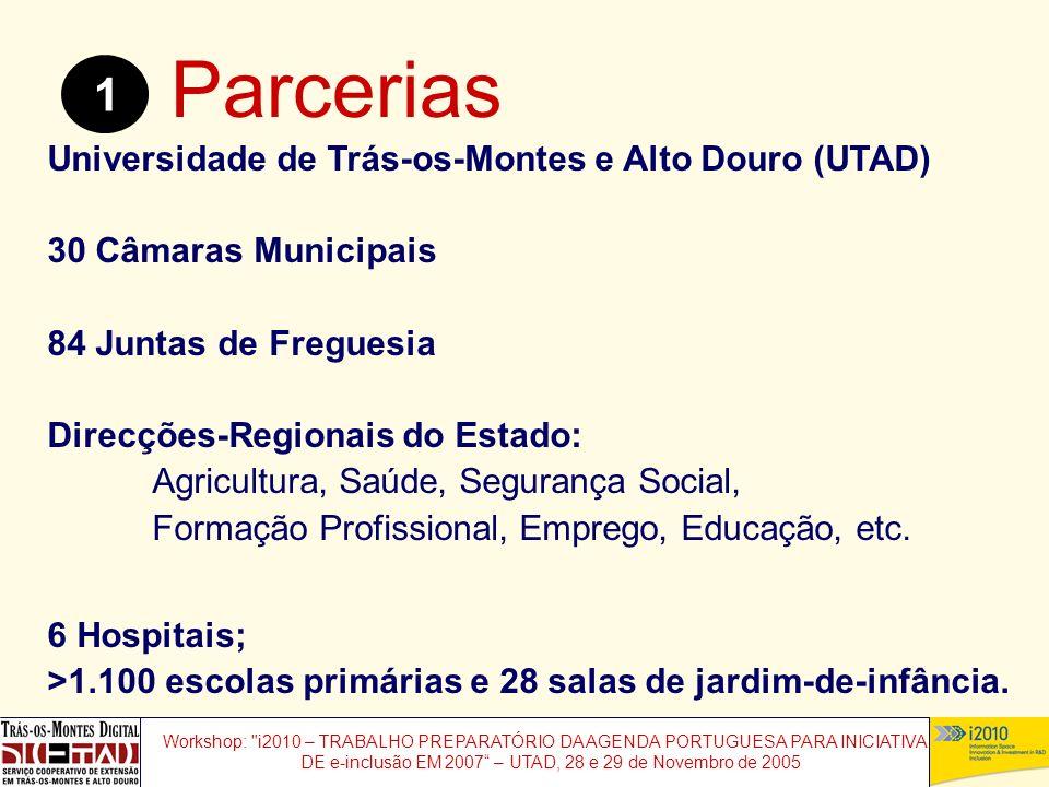 Workshop: i2010 – TRABALHO PREPARATÓRIO DA AGENDA PORTUGUESA PARA INICIATIVAS DE e-inclusão EM 2007 – UTAD, 28 e 29 de Novembro de 2005 Parcerias 1 Universidade de Trás-os-Montes e Alto Douro (UTAD) 30 Câmaras Municipais 84 Juntas de Freguesia Direcções-Regionais do Estado: Agricultura, Saúde, Segurança Social, Formação Profissional, Emprego, Educação, etc.