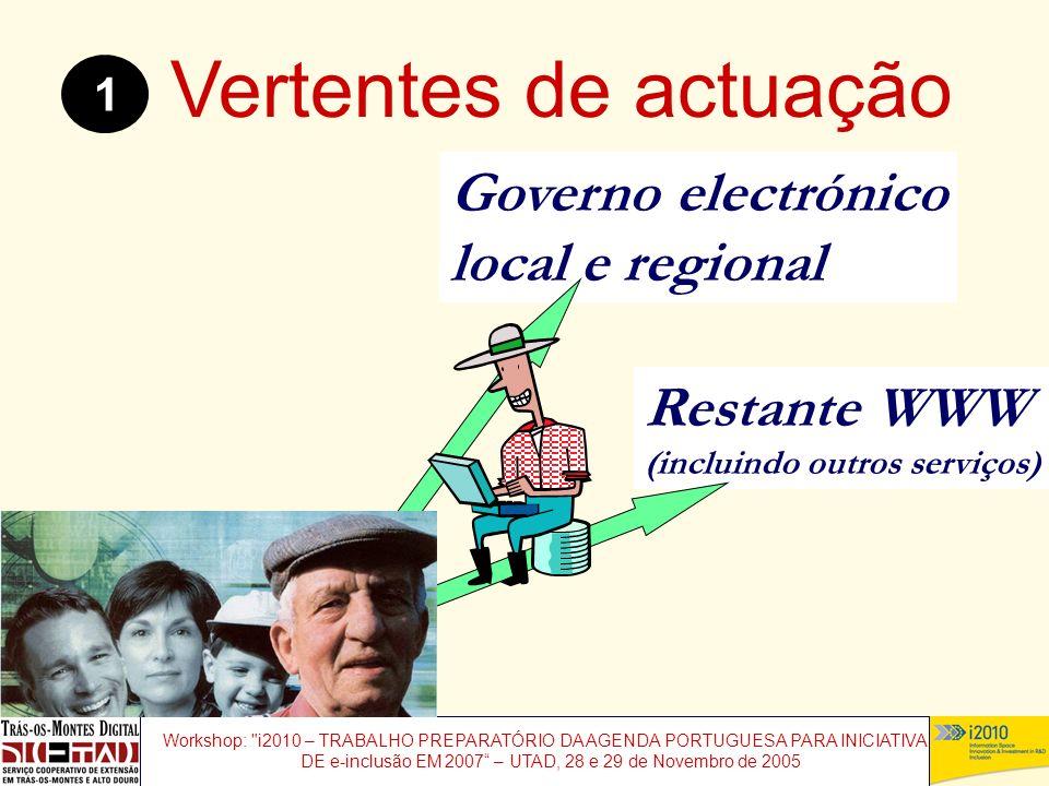 Workshop: i2010 – TRABALHO PREPARATÓRIO DA AGENDA PORTUGUESA PARA INICIATIVAS DE e-inclusão EM 2007 – UTAD, 28 e 29 de Novembro de 2005 Restante WWW (incluindo outros serviços) Governo electrónico local e regional Vertentes de actuação 1