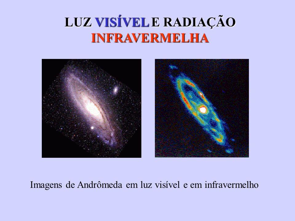 LUZ VISÍVEL E RADIAÇÃO INFRAVERMELHA Imagens de Andrômeda em luz visível e em infravermelho