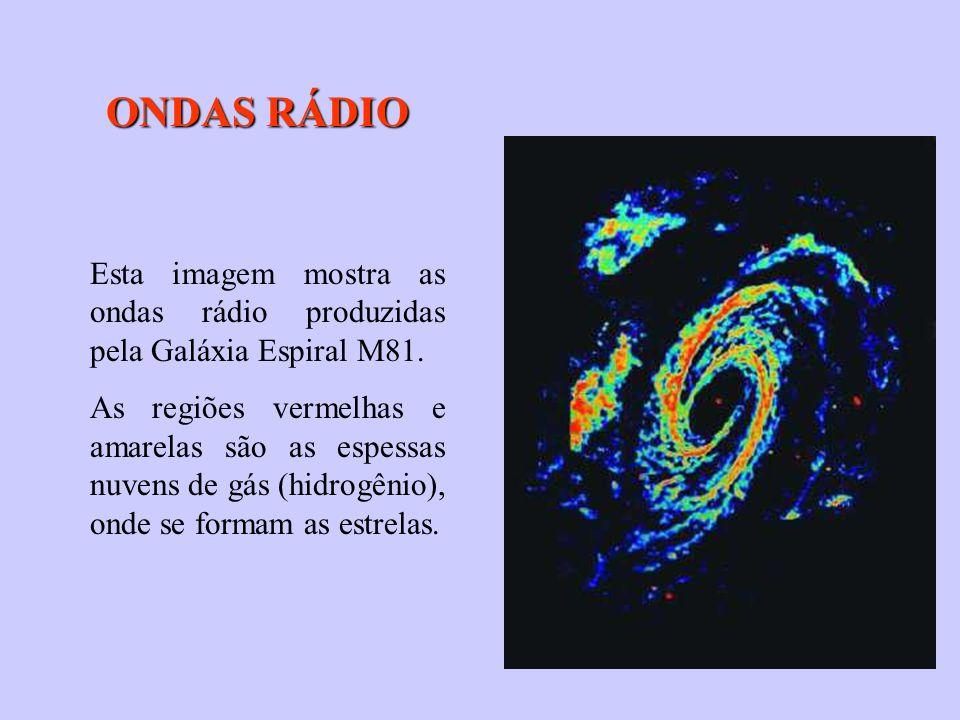 Esta imagem mostra as ondas rádio produzidas pela Galáxia Espiral M81. As regiões vermelhas e amarelas são as espessas nuvens de gás (hidrogênio), ond