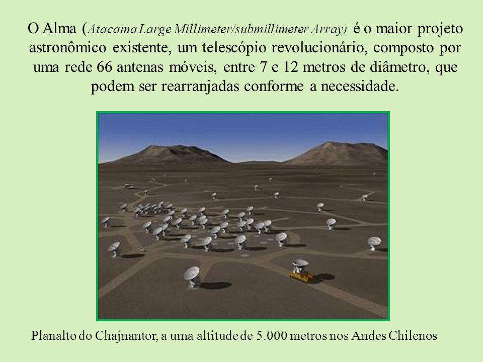 O Alma ( Atacama Large Millimeter/submillimeter Array) é o maior projeto astronômico existente, um telescópio revolucionário, composto por uma rede 66