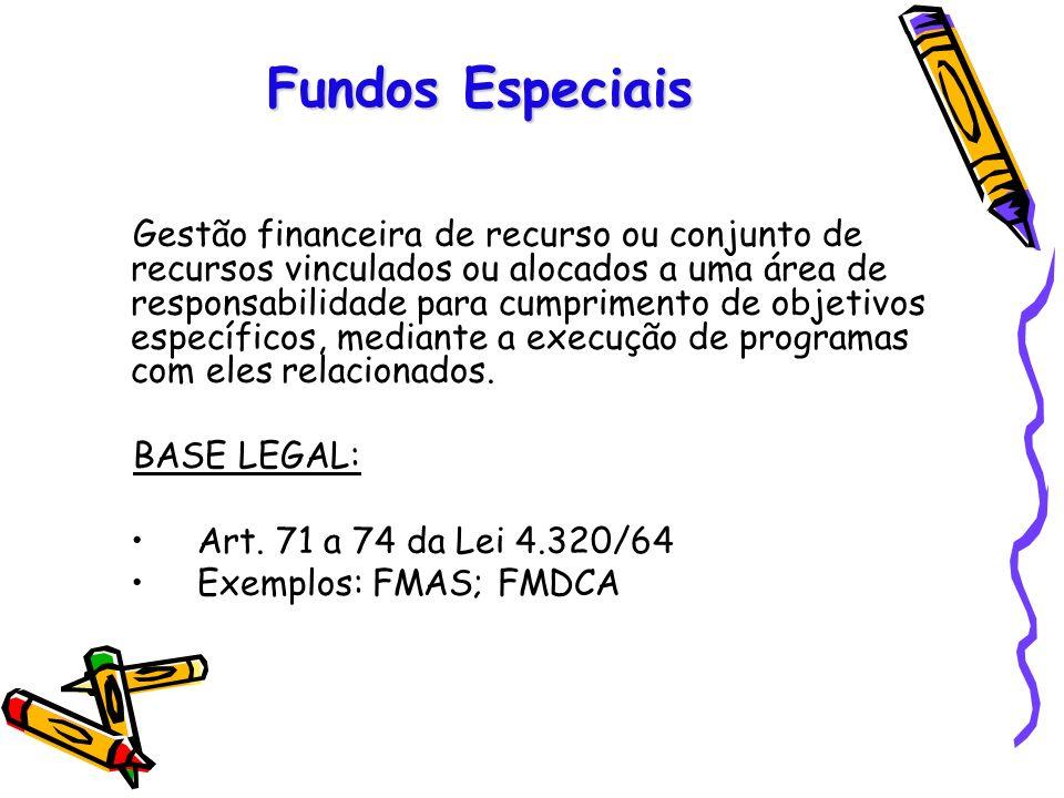 Fundos Especiais Gestão financeira de recurso ou conjunto de recursos vinculados ou alocados a uma área de responsabilidade para cumprimento de objeti