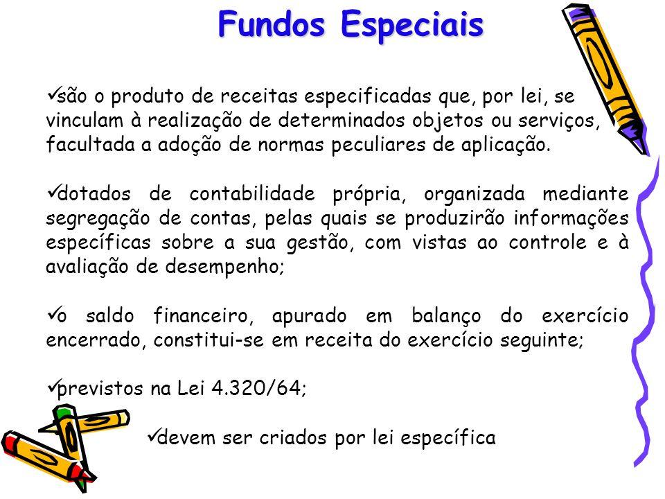 Fundos Especiais são o produto de receitas especificadas que, por lei, se vinculam à realização de determinados objetos ou serviços, facultada a adoçã