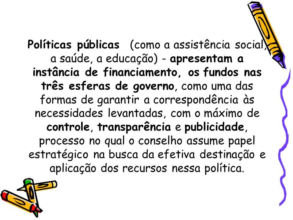 Políticas públicas (como a assistência social, a saúde, a educação) - apresentam a instância de financiamento, os fundos nas três esferas de governo,