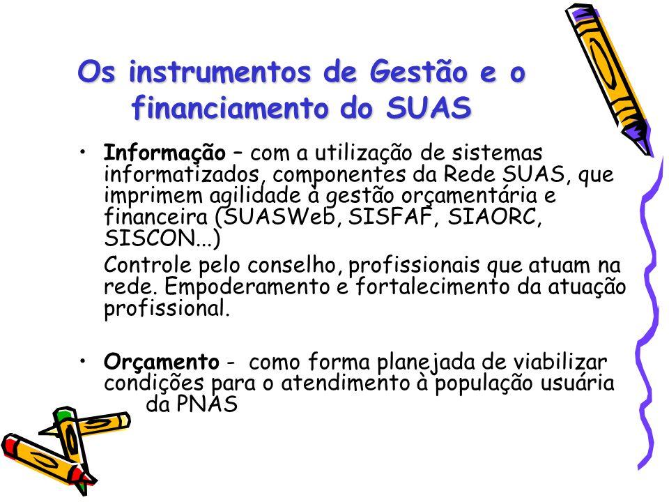 Os instrumentos de Gestão e o financiamento do SUAS Informação – com a utilização de sistemas informatizados, componentes da Rede SUAS, que imprimem a