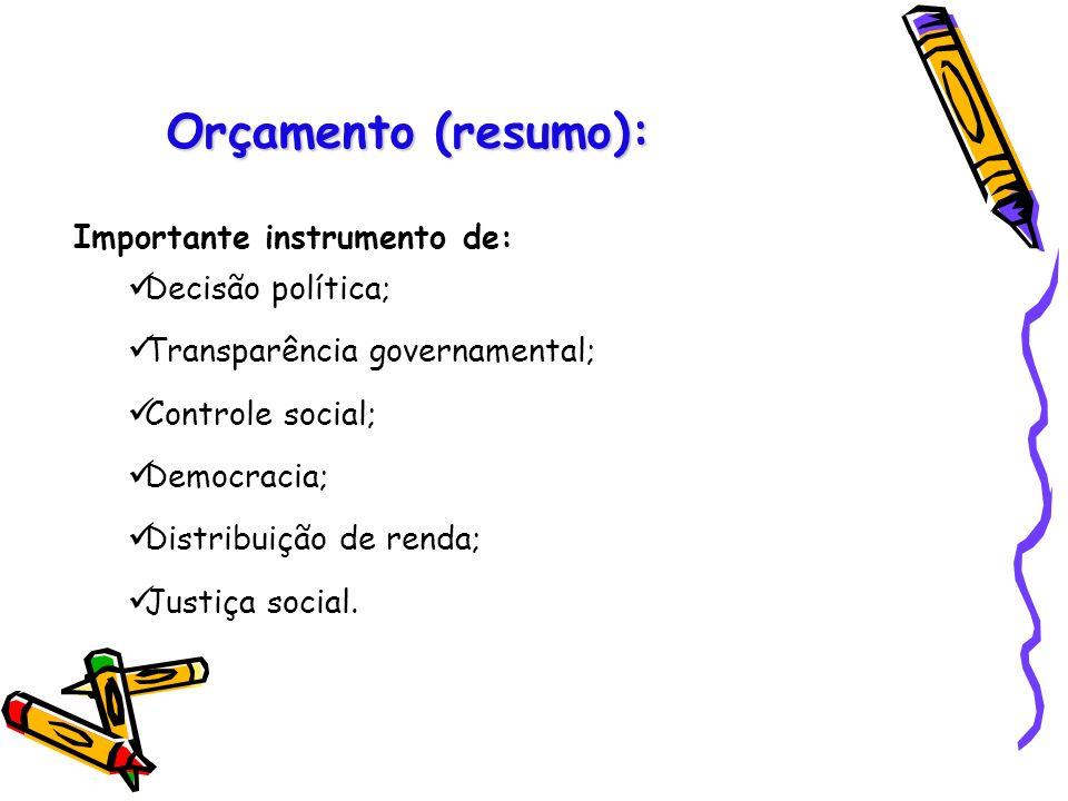 Orçamento (resumo): Importante instrumento de: Decisão política; Transparência governamental; Controle social; Democracia; Distribuição de renda; Just