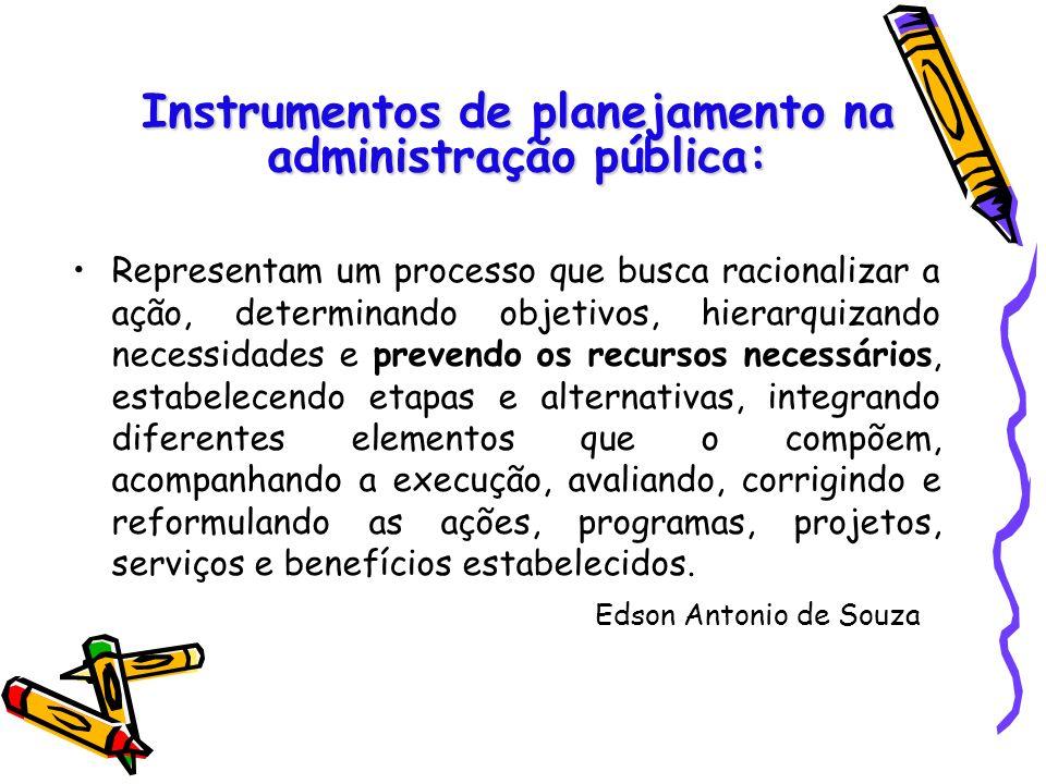 Instrumentos de planejamento na administração pública: Representam um processo que busca racionalizar a ação, determinando objetivos, hierarquizando n