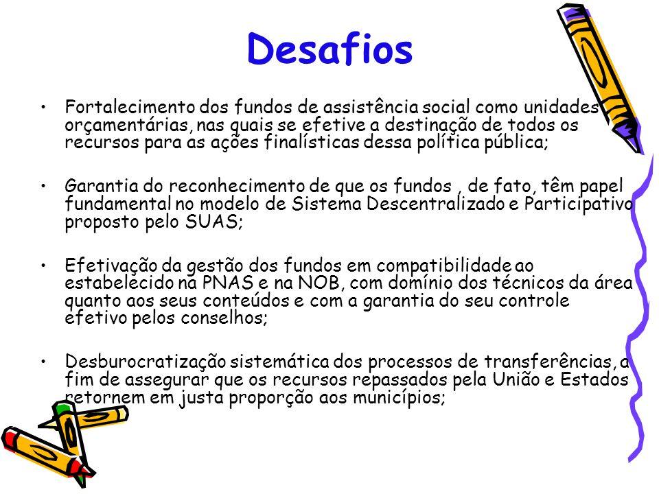 Desafios Fortalecimento dos fundos de assistência social como unidades orçamentárias, nas quais se efetive a destinação de todos os recursos para as a