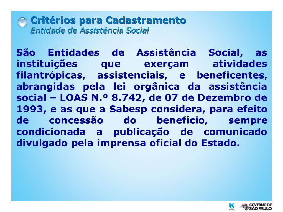 Critérios para Cadastramento Lista de Entidades de Assistência Social.