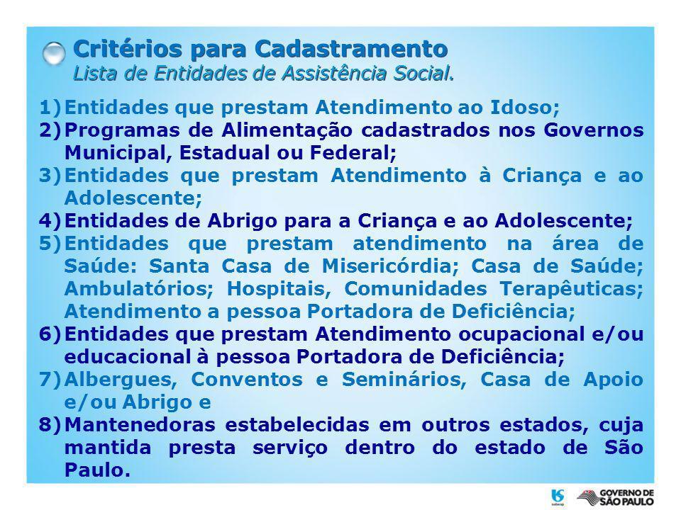 Critérios para Cadastramento Lista de Entidades de Assistência Social. Critérios para Cadastramento Lista de Entidades de Assistência Social. 1)Entida