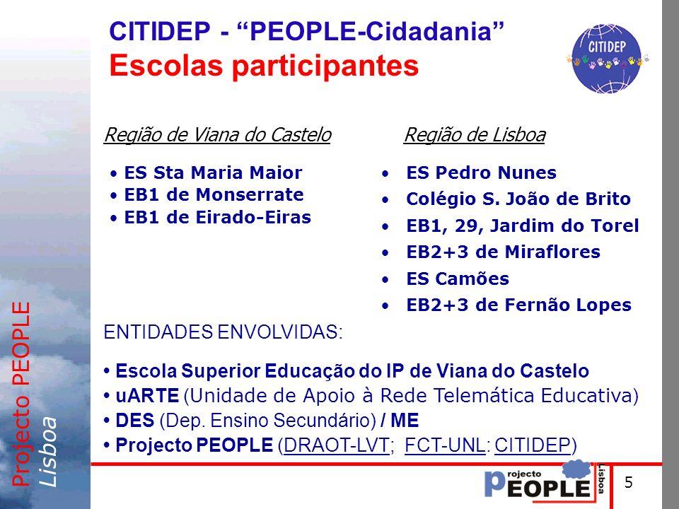 Projecto PEOPLELisboa Região de Lisboa CITIDEP - PEOPLE-Cidadania Escolas participantes 5 ES Pedro Nunes Colégio S. João de Brito EB1, 29, Jardim do T