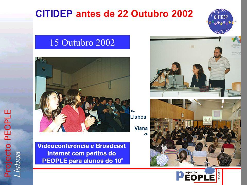 Projecto PEOPLELisboa CITIDEP antes de 22 Outubro 2002 Videoconferencia e Broadcast Internet com peritos do PEOPLE para alunos do 10 ª 15 Outubro 2002