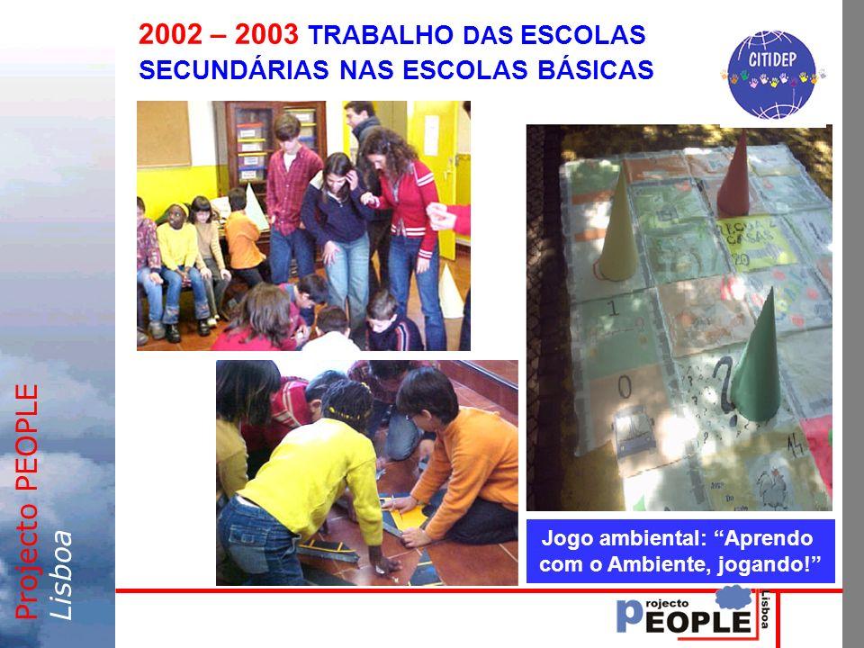 Projecto PEOPLELisboa 2002 – 2003 TRABALHO DAS ESCOLAS SECUNDÁRIAS NAS ESCOLAS BÁSICAS Jogo ambiental: Aprendo com o Ambiente, jogando!