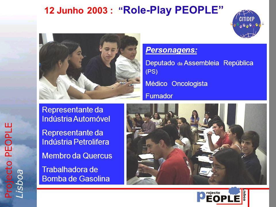 Projecto PEOPLELisboa 12 Junho 2003 : Role-Play PEOPLE Personagens: Deputado da Assembleia República (PS) Médico Oncologista Fumador Representante da Indústria Automóvel Representante da Indústria Petrolifera Membro da Quercus Trabalhadora de Bomba de Gasolina
