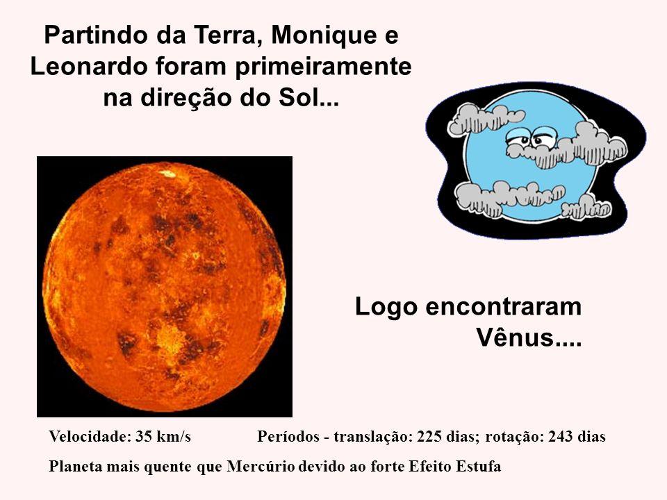 Partindo da Terra, Monique e Leonardo foram primeiramente na direção do Sol... Velocidade: 35 km/s Períodos - translação: 225 dias; rotação: 243 dias