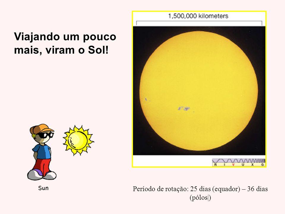 Viajando um pouco mais, viram o Sol! Período de rotação: 25 dias (equador) – 36 dias (pólos|)