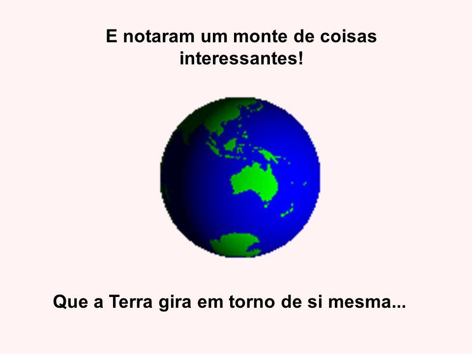 E notaram um monte de coisas interessantes! Que a Terra gira em torno de si mesma...