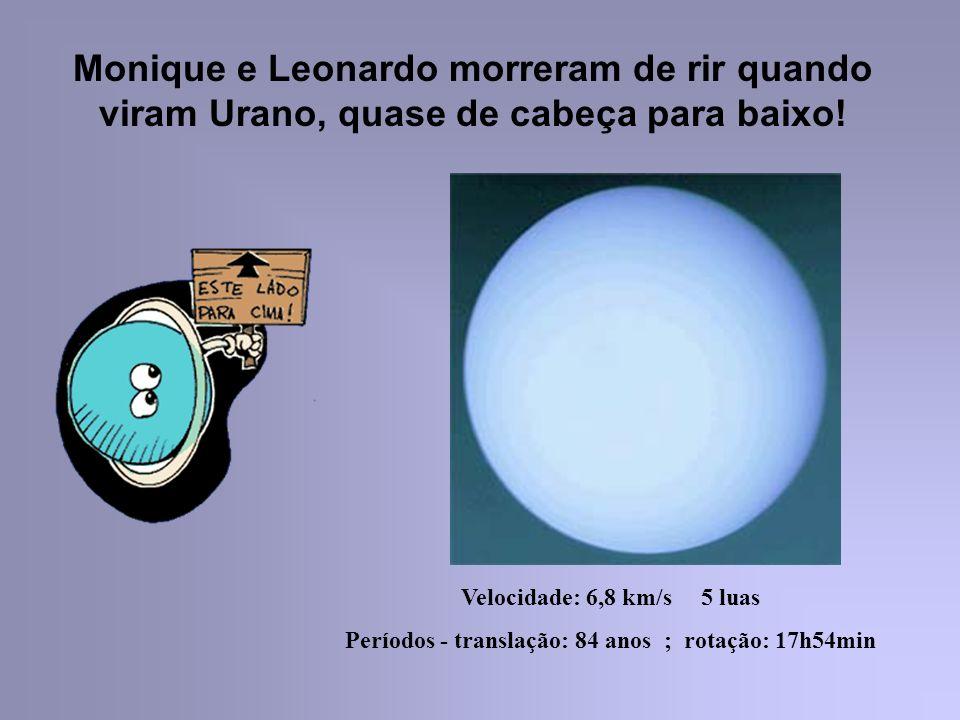 Monique e Leonardo morreram de rir quando viram Urano, quase de cabeça para baixo! Velocidade: 6,8 km/s 5 luas Períodos - translação: 84 anos ; rotaçã