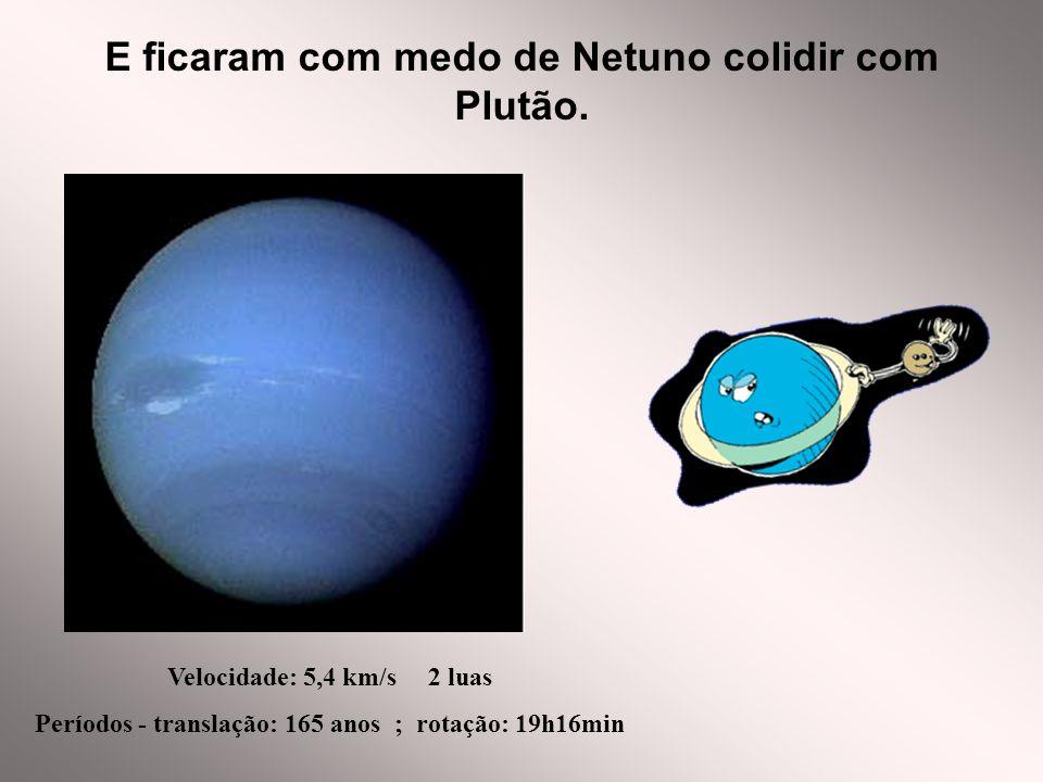 E ficaram com medo de Netuno colidir com Plutão. Velocidade: 5,4 km/s 2 luas Períodos - translação: 165 anos ; rotação: 19h16min