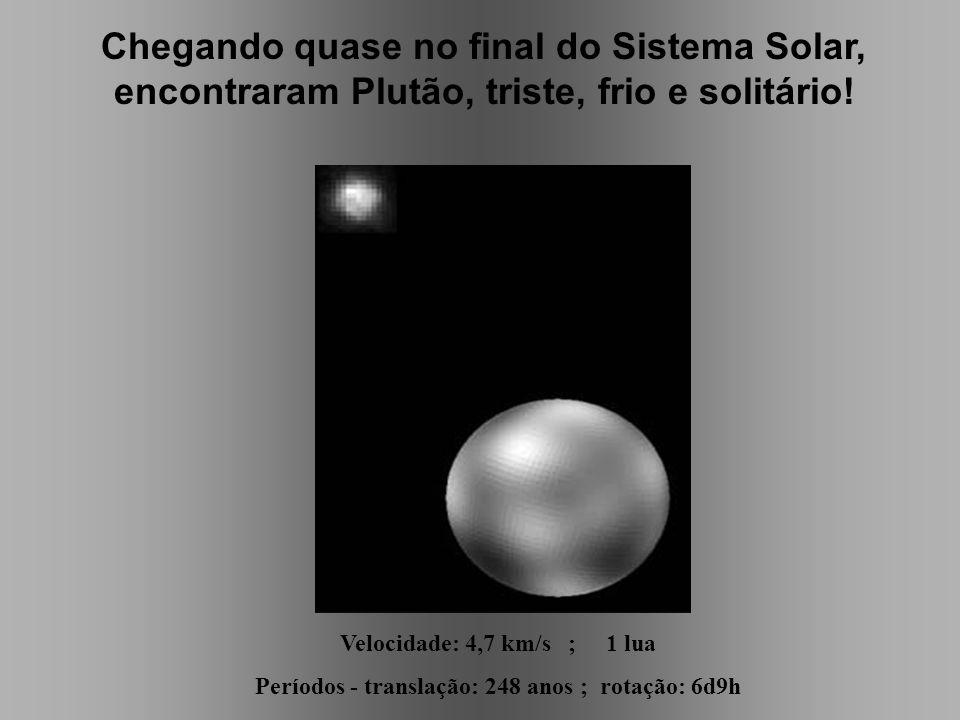 Chegando quase no final do Sistema Solar, encontraram Plutão, triste, frio e solitário! Velocidade: 4,7 km/s ; 1 lua Períodos - translação: 248 anos ;