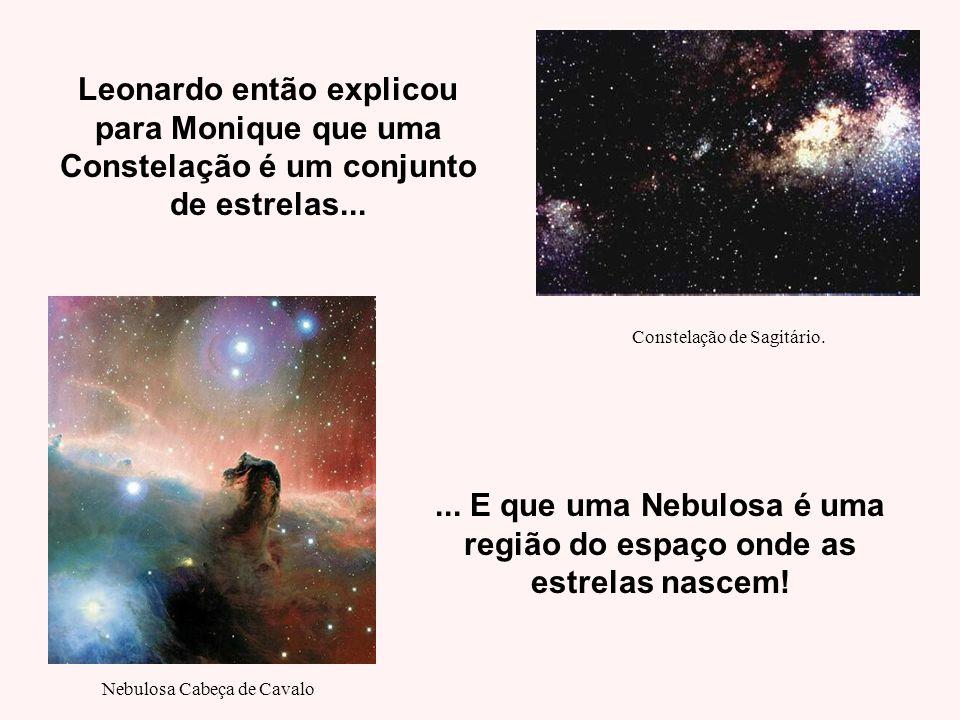 Leonardo então explicou para Monique que uma Constelação é um conjunto de estrelas...... E que uma Nebulosa é uma região do espaço onde as estrelas na