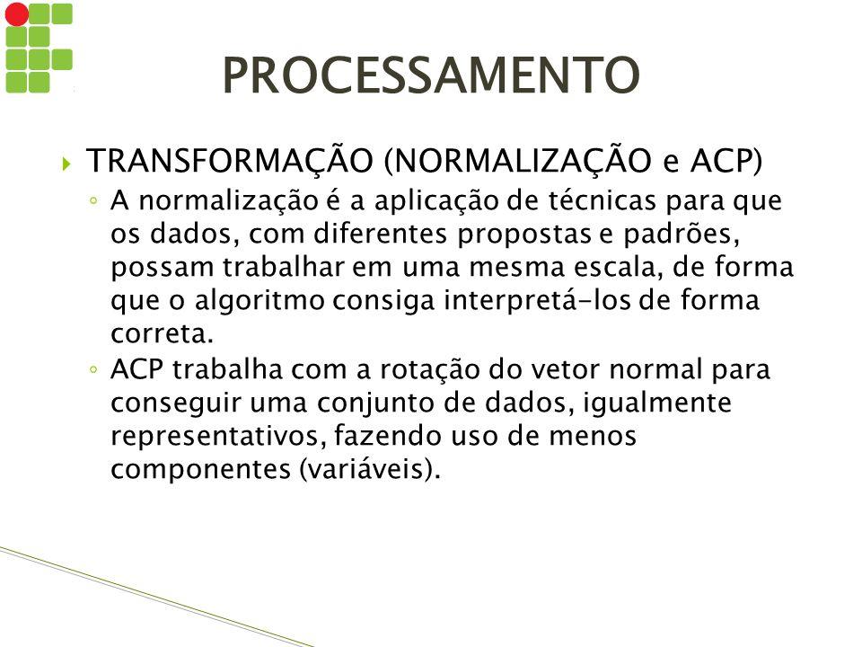 TRANSFORMAÇÃO (NORMALIZAÇÃO e ACP) A normalização é a aplicação de técnicas para que os dados, com diferentes propostas e padrões, possam trabalhar em