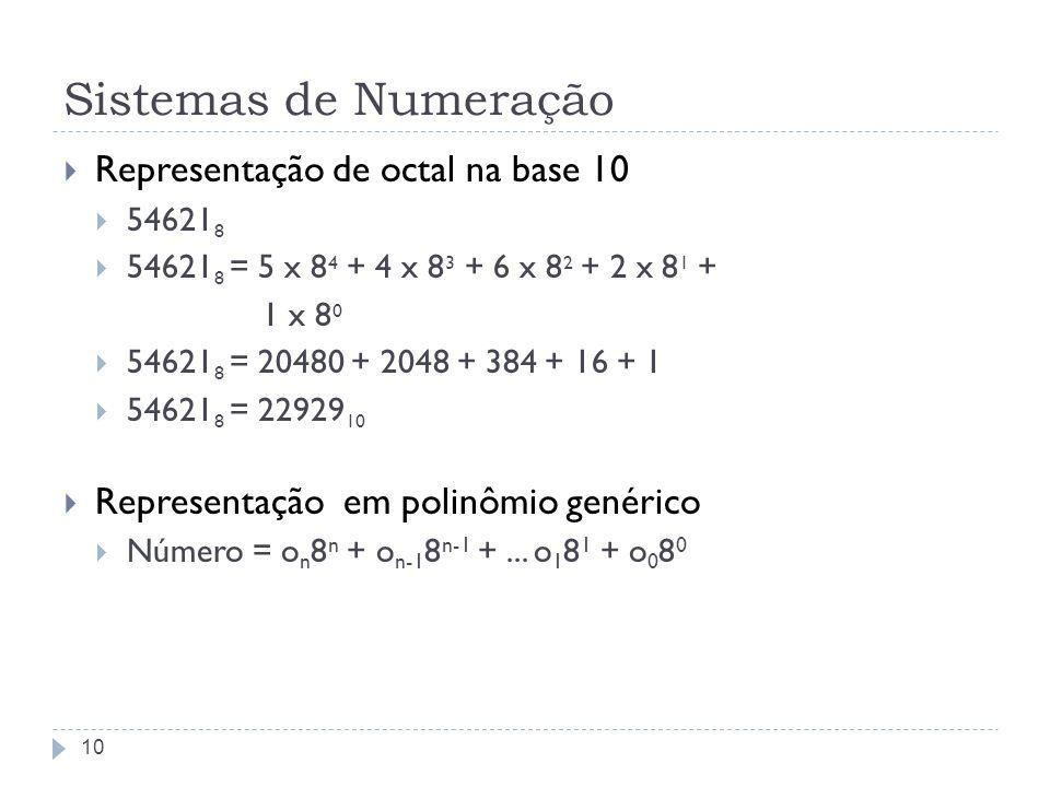 Sistemas de Numeração Representação de octal na base 10 54621 8 54621 8 = 5 x 8 4 + 4 x 8 3 + 6 x 8 2 + 2 x 8 1 + 1 x 8 0 54621 8 = 20480 + 2048 + 384