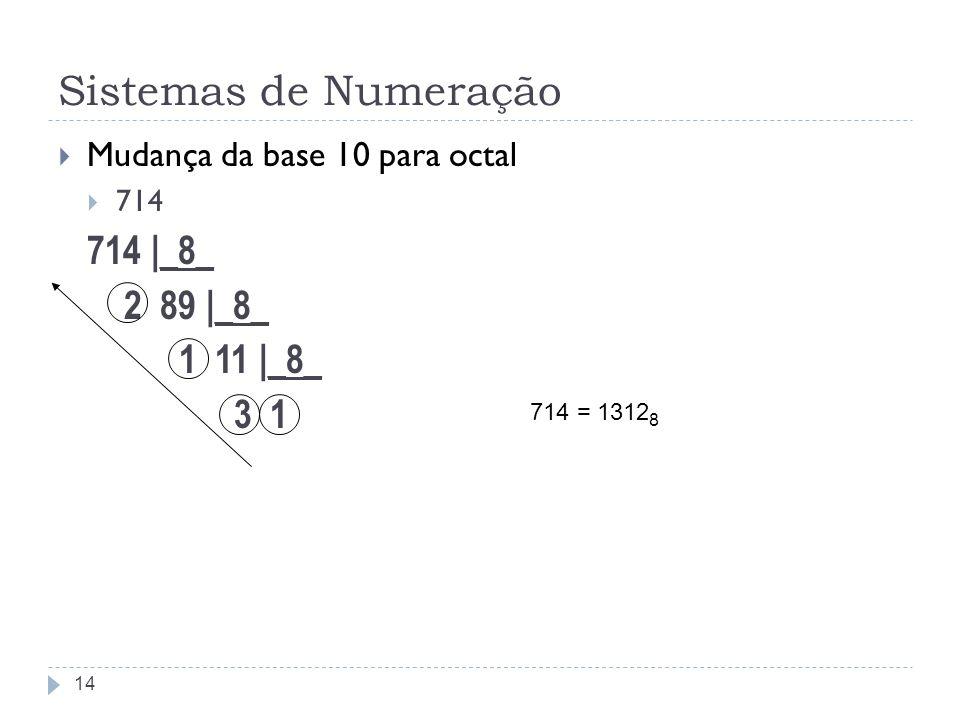 Sistemas de Numeração Mudança da base 10 para octal 714 714 |_8_ 2 89 |_8_ 1 11 |_8_ 3 1 14 714 = 1312 8